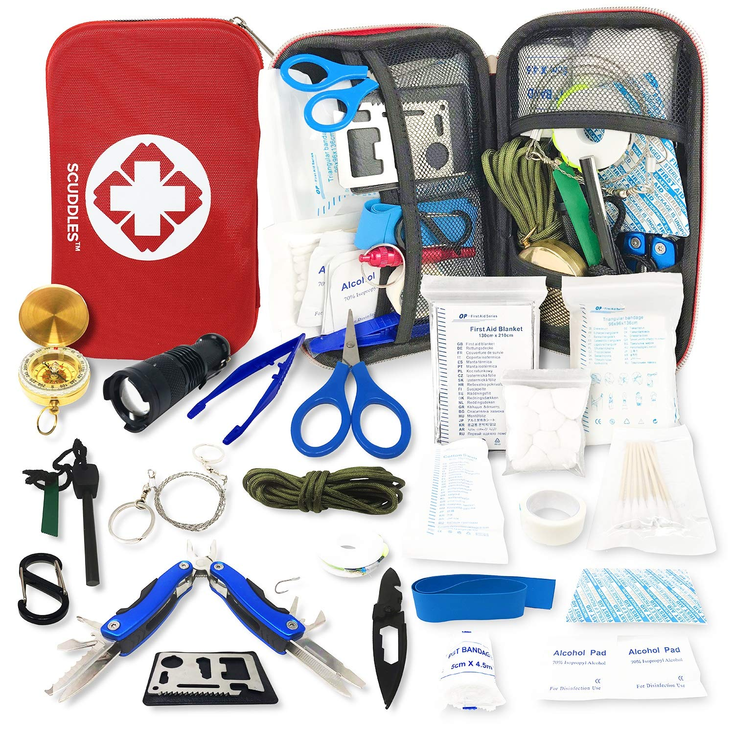 First Aid Survival Kit - Camping Emergency Trauma Kit - First Medical earthquake Kit for Car Boat Home Office Hiking Camping Hunting Travel Adventures Earthquake - Survival Gear Kit Medical Supplies by scuddles