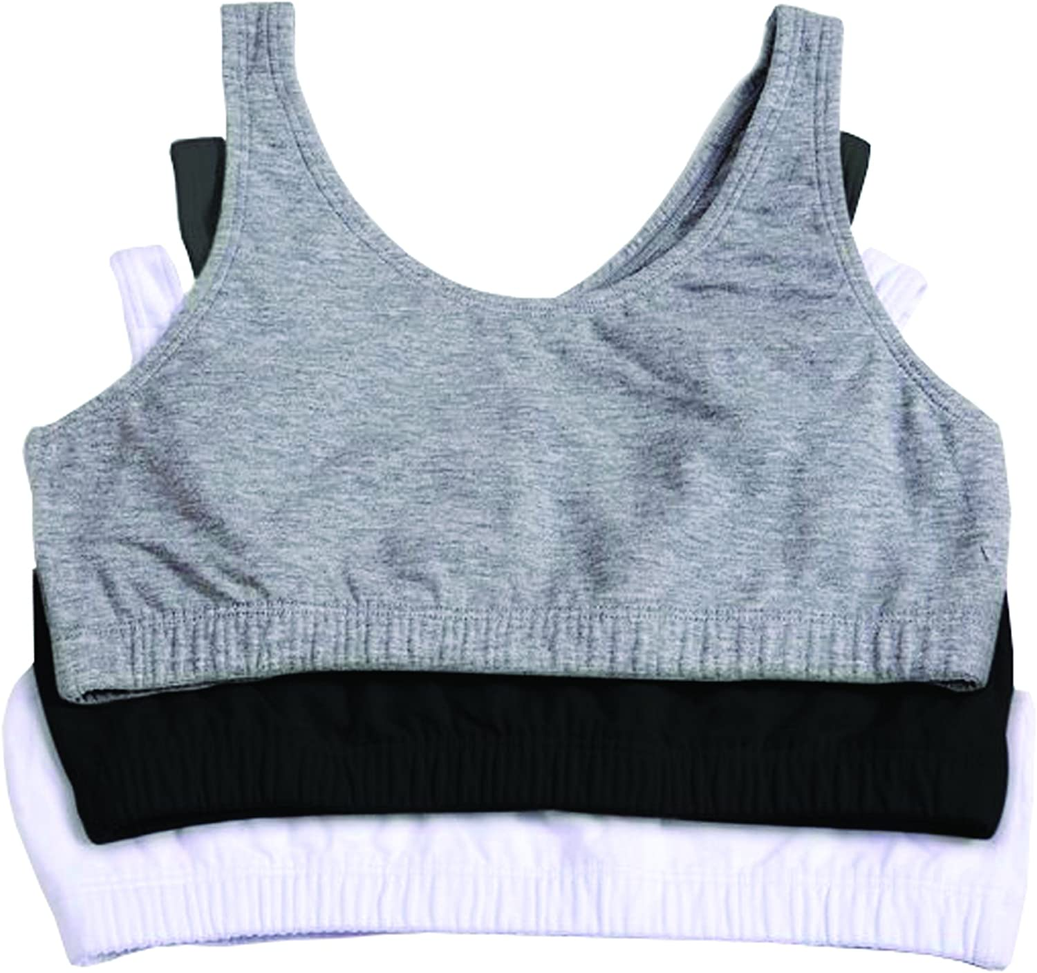 Girls Sports Bras Cotton Diamante Glitter Strappy Top Pack of 5