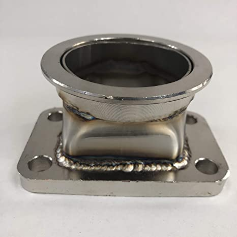 EMUSA 45 Degree Turbo Charger Flange Conversion Adapter T3 4-Bolt Stainless Steel