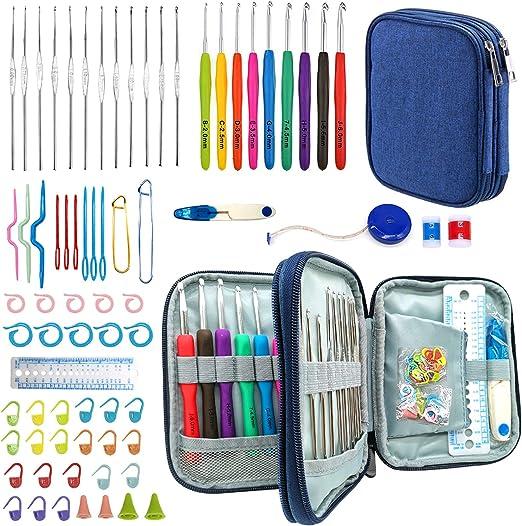 Ganchillos Crochet, 72 piezas Juego de ganchos de ganchillo ergenómicos 21 Accesorios de kit de inicio de ganchillo de tamaño completo Juego de agujas de tejer con estuche de almacenamiento (azul): Amazon.es: