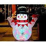 CCLIFE Pupazzo di neve gonfiabile carina comico, Con Illuminazione a LED e Kit Fissaggio, Addobbo e Decorazione Natalizia, Colore:Bianco008-120cm
