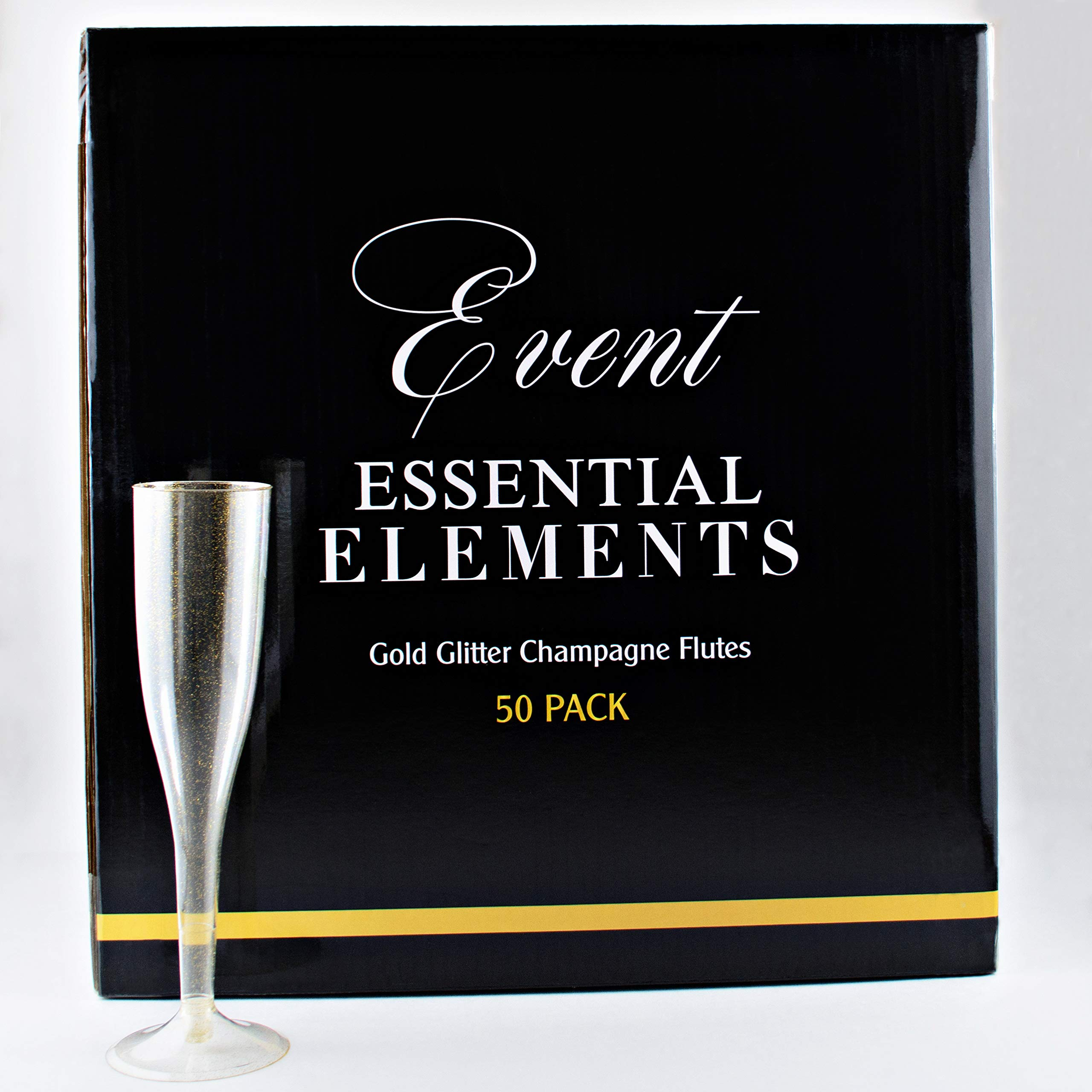 Gold Glitter Plastic Champagne Flutes 50 Pack 6 Ounce - Gold Champagne Flutes for Backyard Weddings/Party, Mimosa Bar, Champagne Toasts | Shatterproof Flute Glasses - Disposable Reusable Recyclable by Event Essential Elements