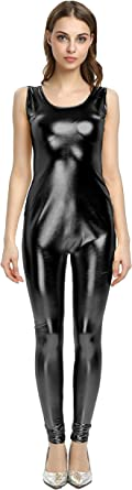 WOLF UNITARD Shiny Metallic Unitard Bodysuit Catsuit