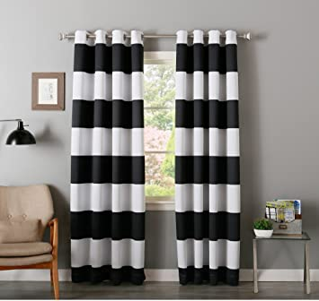 DH 2 Piece 84 Inch Black White Rugby Stripes Curtains Pair Panel Set Drapes