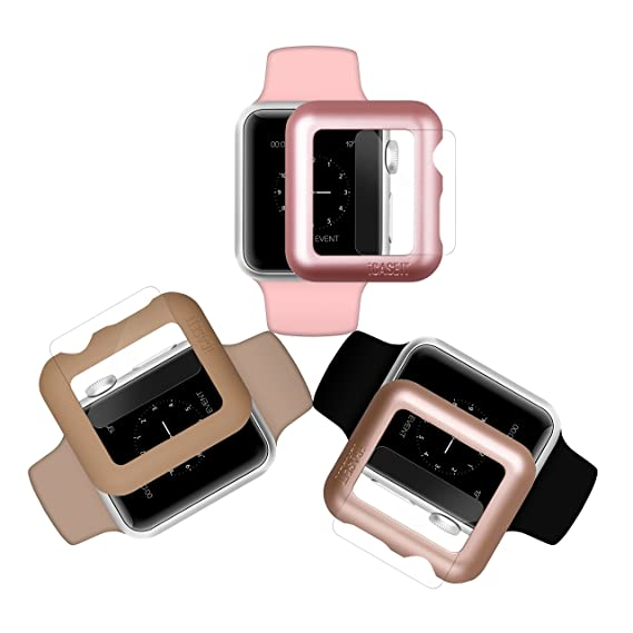 reputable site 8a7d7 c1410 iCASEIT Apple Watch Case Screen Protector 38mm (Pack of 3) - Bumper Case  with Screen Protector for Full Protection for Apple Watch 38 mm - Gold Rose  ...