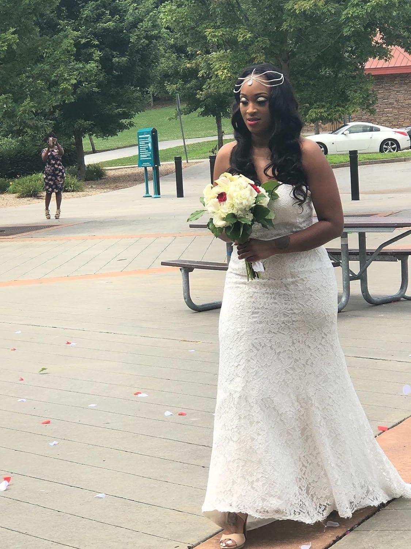 SIQINZHENG Womens Sweetheart Full Lace Beach Wedding Dress Mermaid Bridal Gown