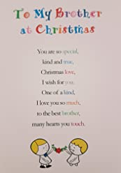 to My Brother at Christmas - Cute Christmas Luxury Greetings Cards by Clarabelle Cards 5 x 7 inches