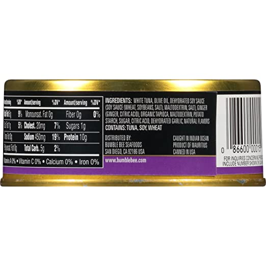 BUMBLE BEE Prime Fillet Solid White Albacore Tuna in Olive Oil, Ginger and Soy, Canned Tuna Fish, High Protein Food, Keto, 5oz, 12 Cans: Amazon.com: Grocery ...