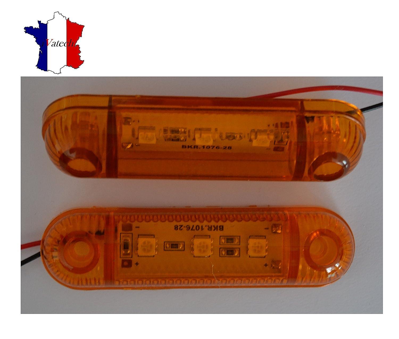 IVATECH 4 X 24V ORANGE 3 SMD LED FEUX DE GABARIT CAMION SHASSIS REMORQUES VAN BUS CARAVAN