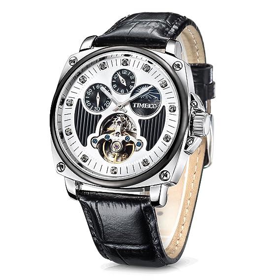 Time100 relojes de hombres mecánicos automáticos huecos multifuncionales con luna y sol (Negro-Plateado