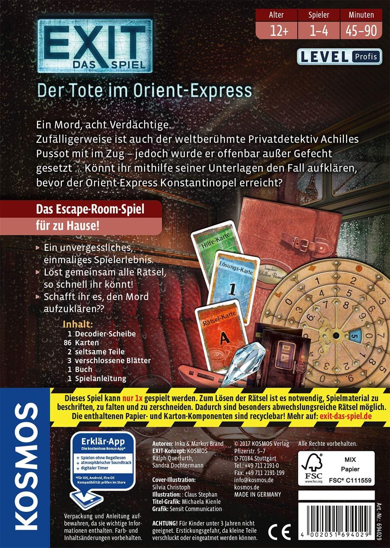 Amazon Prime - Kosmos 694029 - EXIT - Das Spiel - Der Tote im Orient-Express (Level: Profis, Escape Room Spiel) für 8,88€
