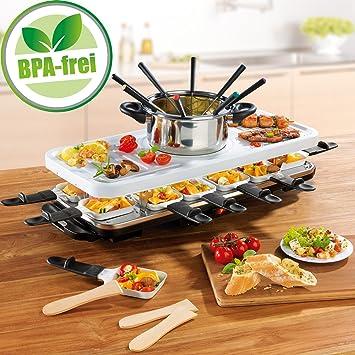 Juego de raclette y fondue de parrilla eléctrico, para 4-6-8-12 ...