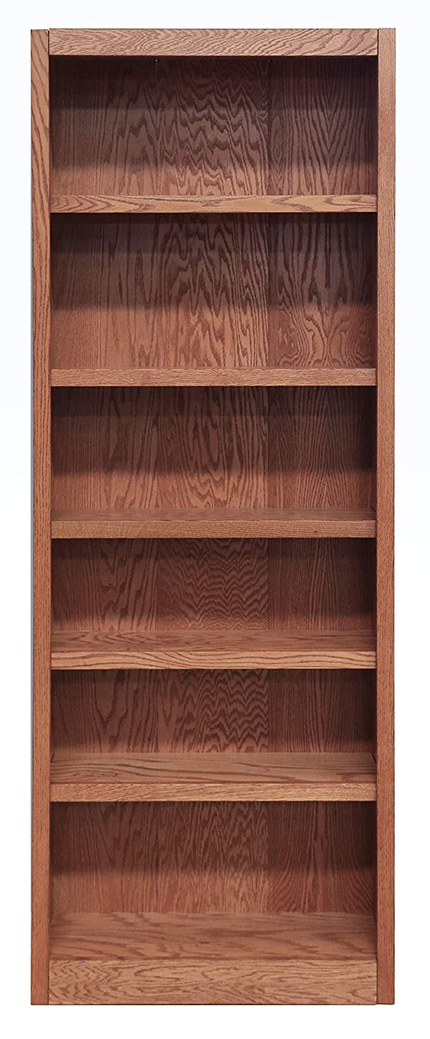 Midas Six Shelf Bookcase 84 H Dry Oak Finish