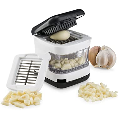 Kitchen Gizmo, Garlic Press- Innovative 3-in-1 Garlic Cube, Slicer, Chopper, Crusher and Dicer - Easily Slice or Cube Garlic Cloves Without The Mess.