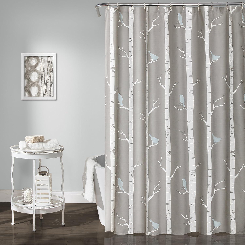 Lush Decor Lush Décor Bird on The Tree Shower Curtain, 72 x 72, Gray/Blue 72 x 72 Triangle Home Fashions 16T000938