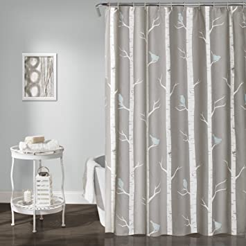 Lush Decor Bird On The Tree Shower Curtain 72quot X Gray