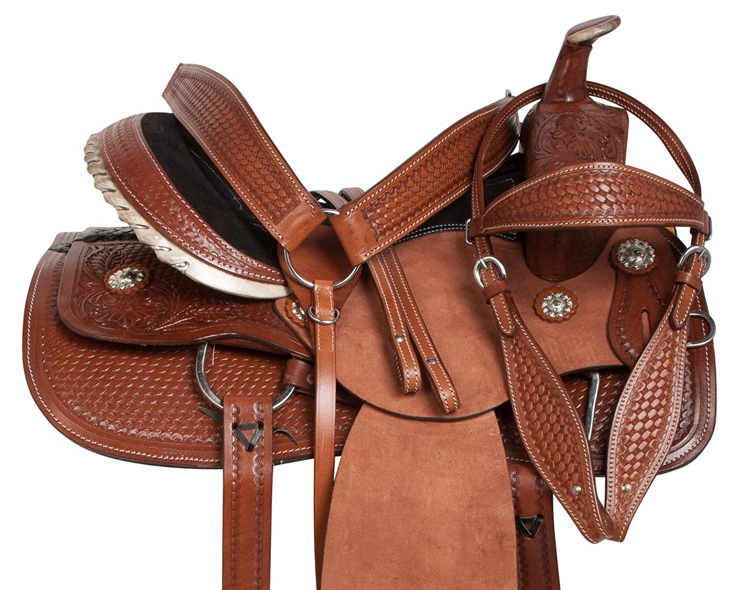 acerugs 15 16 17 18 Rough Out Western Leather Barrel Racer Pleasure Trailカウボーイ馬サドルTackパッケージ 16  B07DD12JNQ