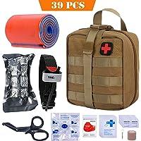 BUSIO First aid Kit-Tactical Bag,Medical EMT Scissor,Tourniquet,Splint Roll,Adhering Stick,Israeli Bandage,Emergency Mylar Blanket,CPR Mask,Survival Whistle