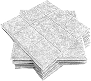 12 Pack Set Acoustic Absorption Panel, 12 X 12 X 0.4 Inches Acoustic Soundproofing Insulation Panel Bevled Edge Tiles, Acoustic Treatment Used in Home & Offices, 9 Blocks Square Design (Silver Grey)