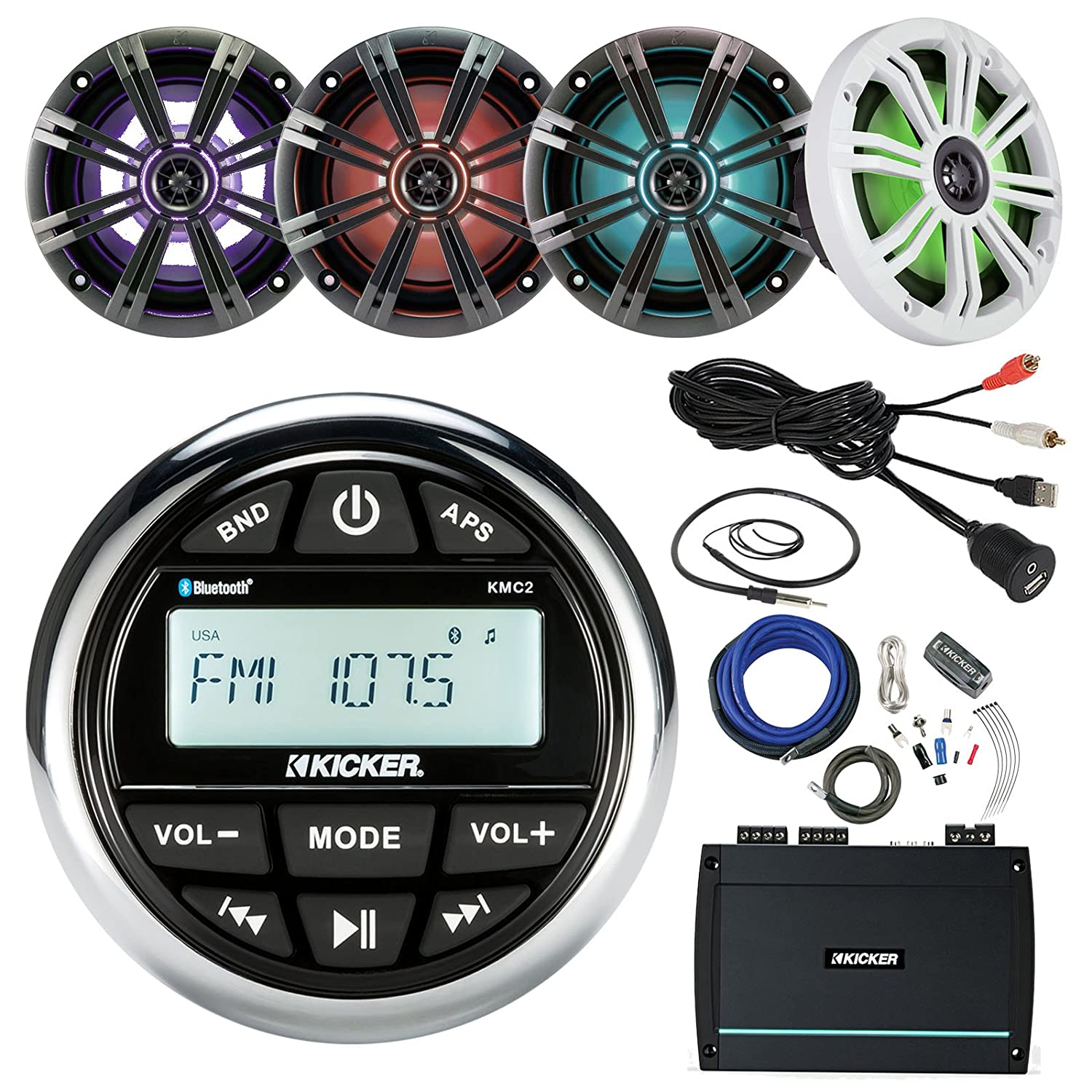 """Amazon.com: 21' - 29' Pontoon Boat Marine System Includes: CD Receiver, 4 x  Kicker 6.5"""" LED Speakers, 4-Channel Amplifier, Amp Power Kit, 22"""" Antenna,  ..."""