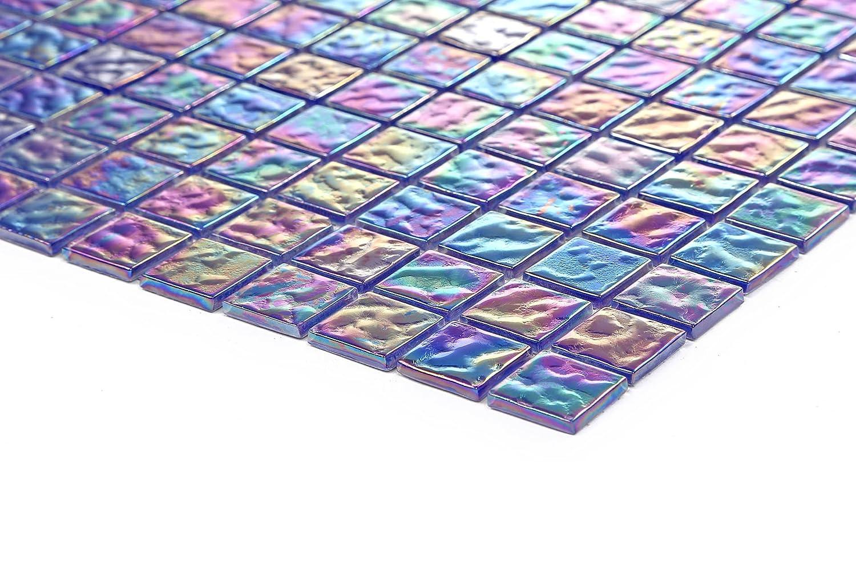 Carrelage mosaï que en verre. Nuances de violet et bleu irisé . Offre proposé e pour l'achat d'un petit é chantillon (MT0042 sample) GTDE