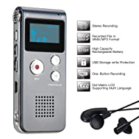 Lysignal Portable Digital Voice Recorder Sound Audio Recorder Dictaphone LCD Recorder MP3 Player-8GB (Silver)