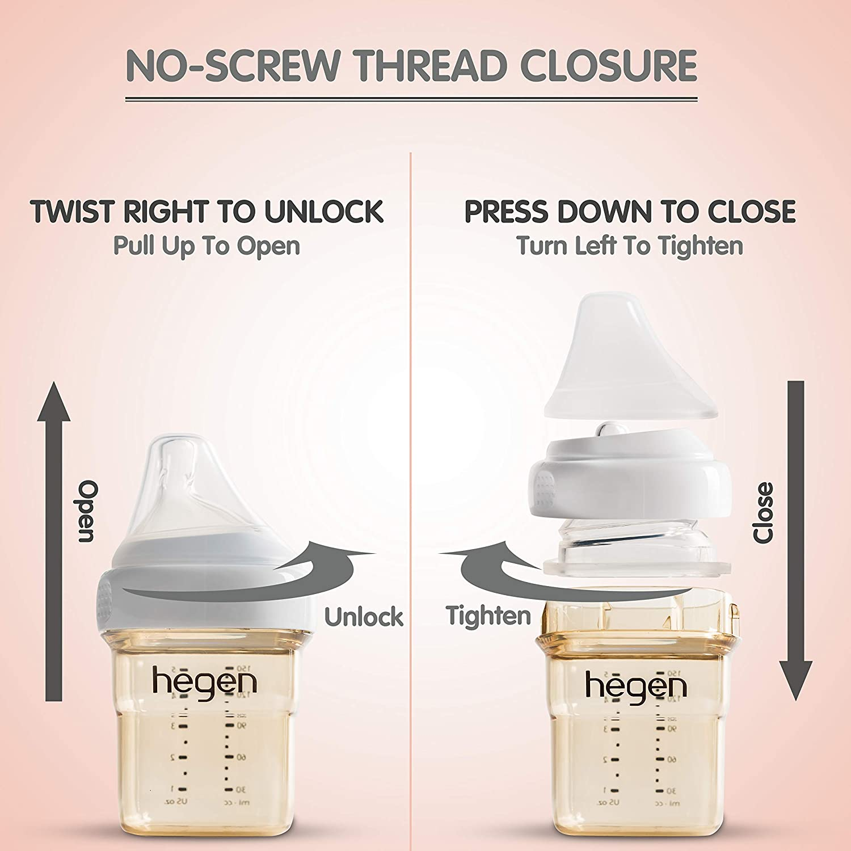 Anti-Colic Wide Neck PPSU Feeding Bottle Hegen Baby Bottle Breastfeeding System 11 oz with Fast Flow Teats