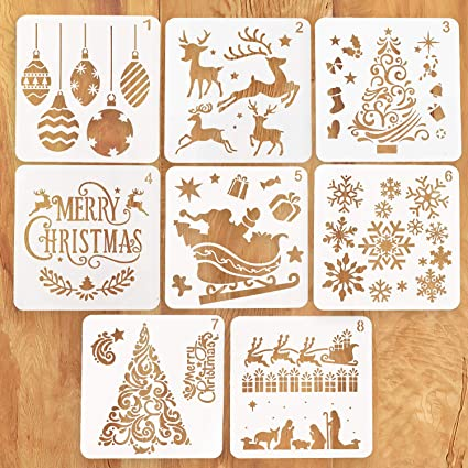 Kizh Christmas Stencils Template8 Pcs Reusable Plastic Craft Art Drawing Painting Spraying Journaling Scrapbook