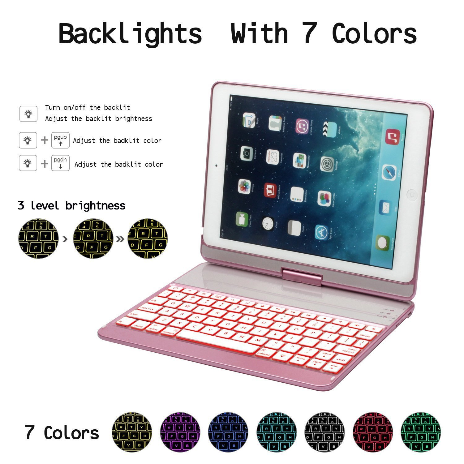 Sammid Bluetooth Keyboard Case for 2018 New iPad 9.7, 360 Degree Rotation with Multiple Angle Viewing Keyboard Case Smart Auto Sleep-Wake Cover for 9.7 inch 2017/2018 New iPad - Rose Gold by Sammid (Image #5)