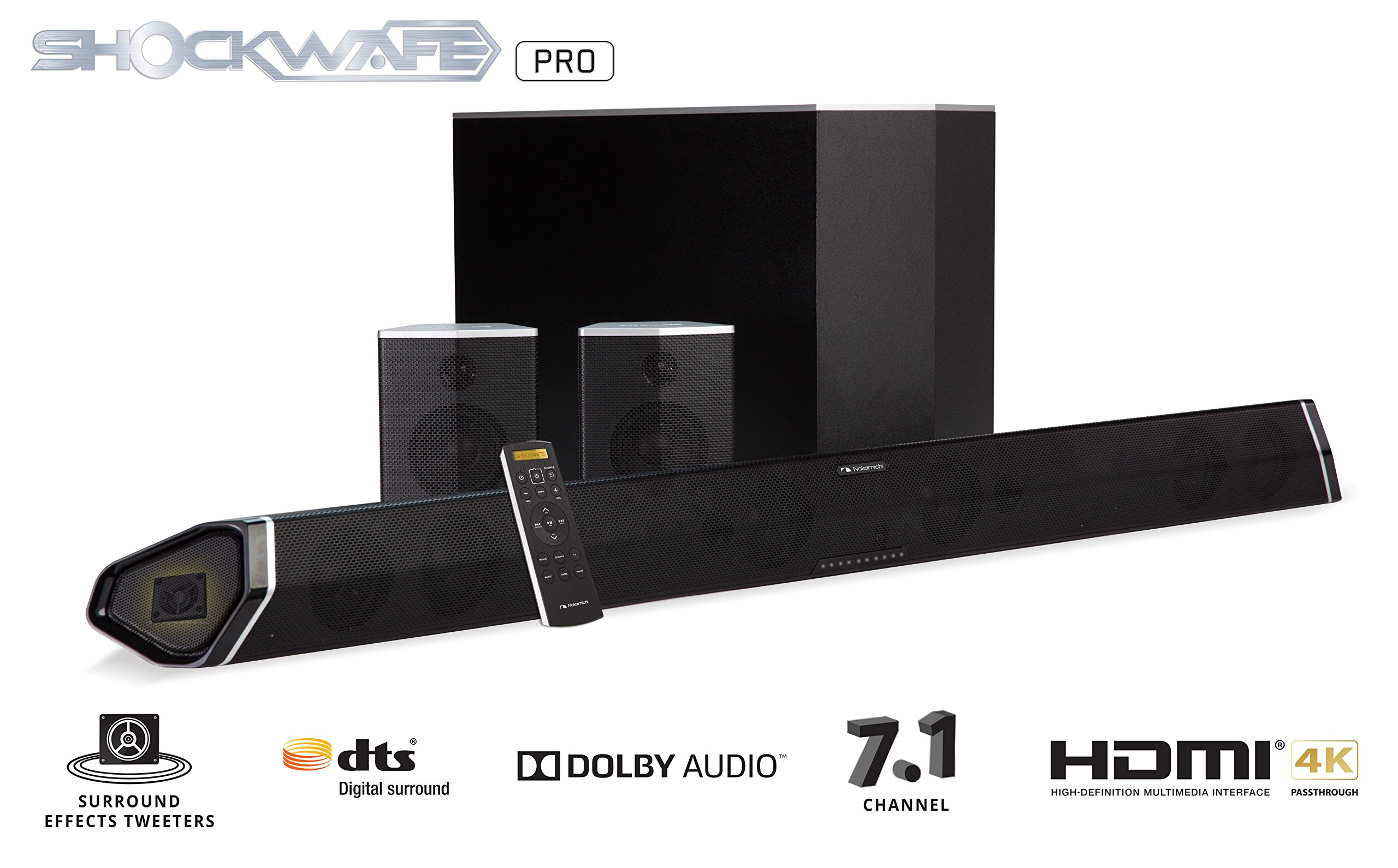 Nakamichi Shockwafe Pro 7.1Ch 400W 45'' Sound Bar with 8'' Subwoofer (Wireless) & Rear Satellite Speakers by Nakamichi