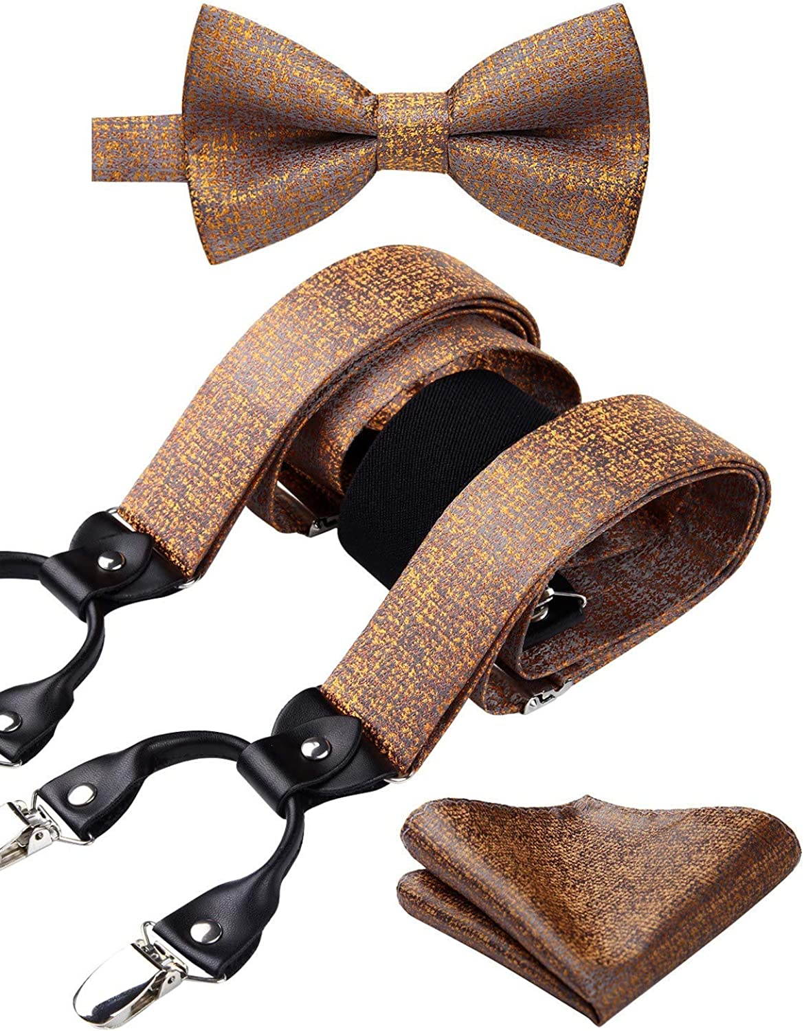 HISDERN Check 6 Clips Suspenders /& Bow Tie and Pocket Square Set Y Shape Adjustable Braces