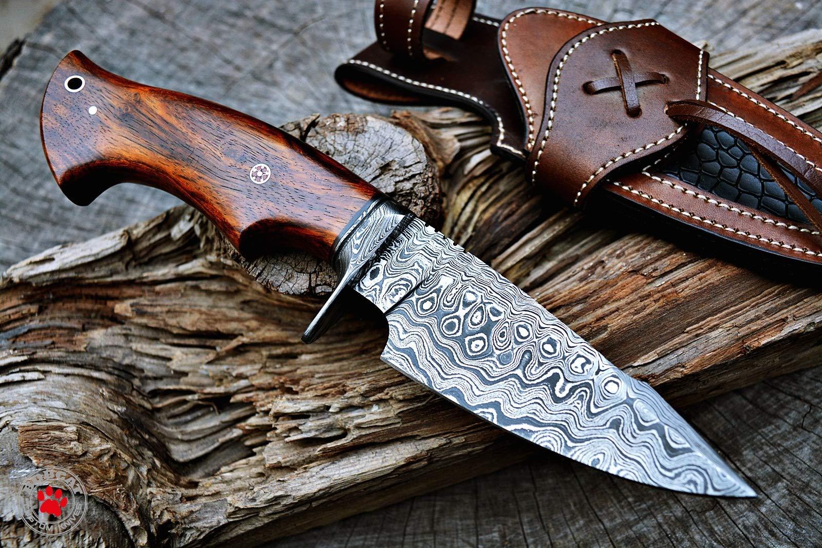 Custom Handmade Hunting Knife Bowie Knife Damascus Steel Survival Knife EDC 10'' Overall Walnut Wood with Sheath by Bobcat Knives (Image #2)