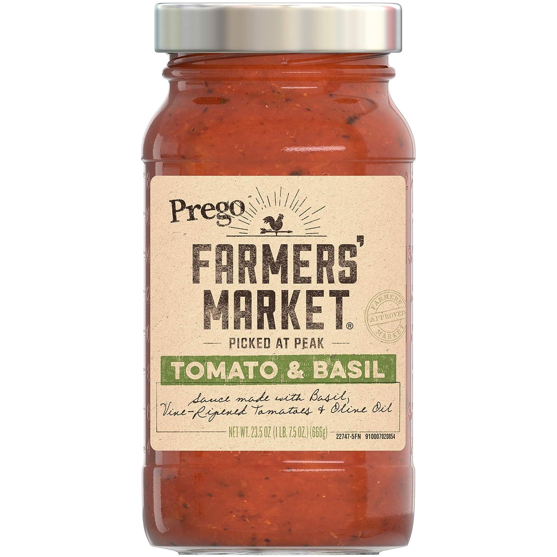 Prego Farmers' Market Tomato & Basil Sauce, 23.5 Ounce Jar (Pack of 6)
