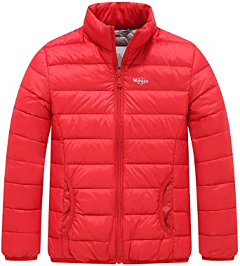f0c4558033a87 Wantdo Boy s Light Weight Casual Down Jacket Standing Collar Windcheater  Anorak(Oriental Red