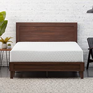Everlane Home Weston Wood Platform Bed and 10 Inch Gel Infused Memory Foam Mattres - Mahogany, Twin