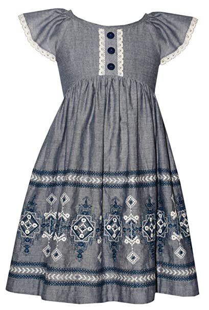 f56d5da16116 Amazon.com  Bonnie Jean Little Girls Chambray Embroidered Dress ...