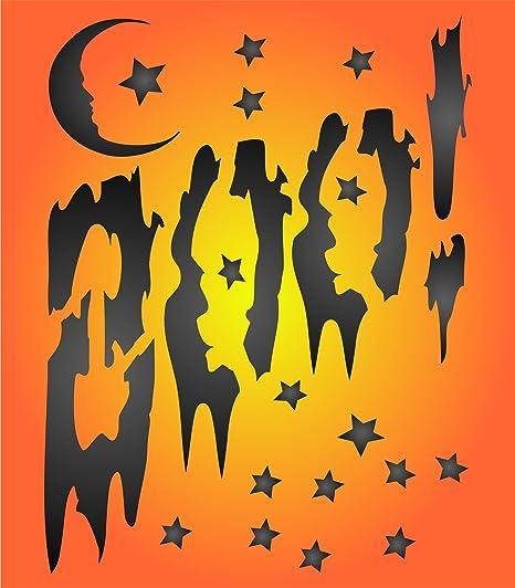 Halloween Boo plantilla – reutilizable de pared plantillas para pintar carteles etiquetas palabras citas – uso