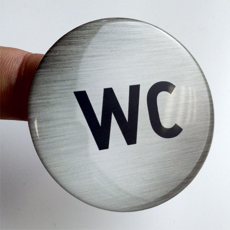WC Schild in 3D Form selbstklebend im hochwertigen Edelstahl Look