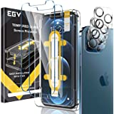 [3+3 Pack] EGV 3pcs Screen Protector & 3pcs Camera Lens Protector & 1pcs Installation Tray Compatible with iPhone 12 Pro Max