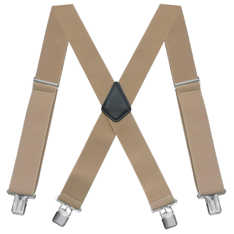 Fasker Mens Suspenders X-Back 2'' Wide Adjustable Solid Straight Clip Suspenders