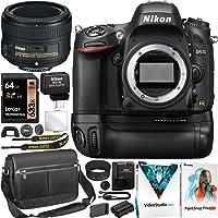 Nikon D610 Full-Frame DSLR Camera FX Digital SLR Body AF-S NIKKOR 50mm F1.8G Lens Bundle with MB-D14 Battery Grip + Wireless Mobile Adapter Camera Bag Case + 64GB Card + Photo Video Software