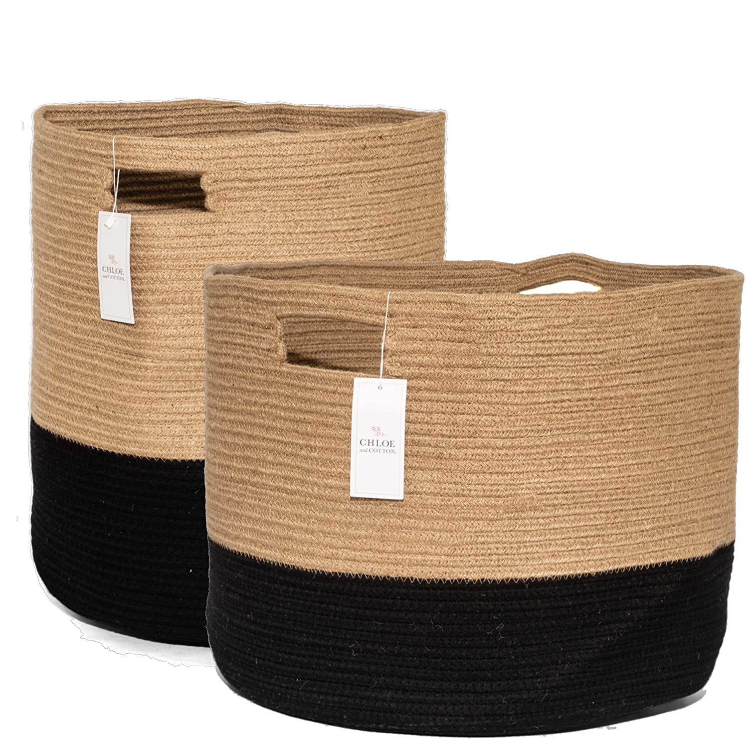 Chloe and Cotton Woven Coiled Rope Storage Baskets XL 19 x 16 inch and XXXL 15 x 21 Jute Black Handles | Decorative Laundry Clothes Hamper, Blanket, Towel, Baby Nursery Bin Cute Organizer