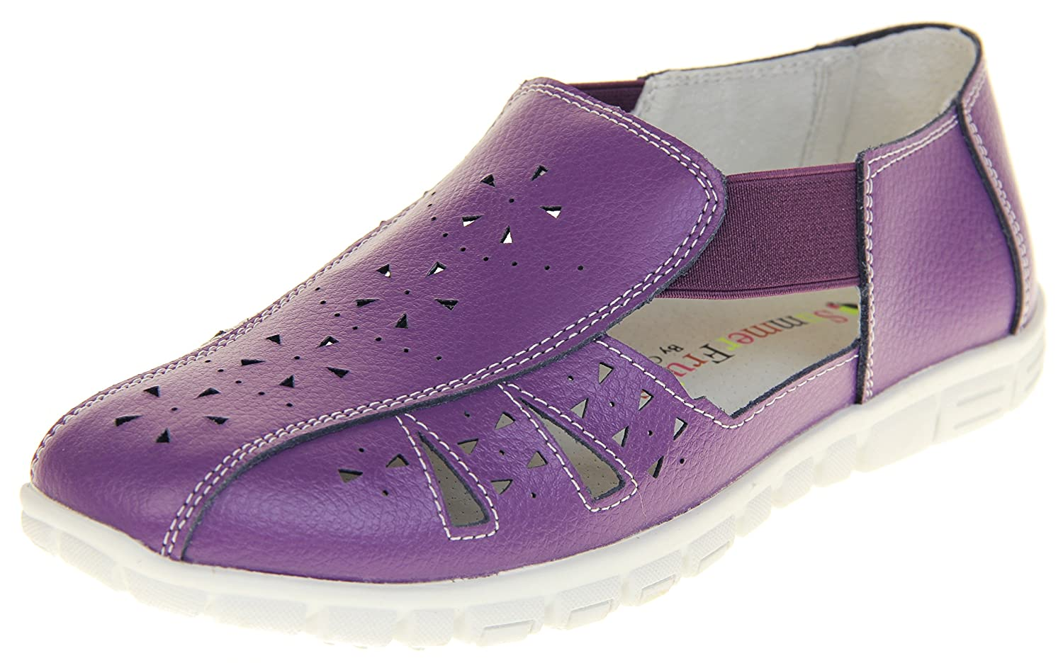 Coolers Womens Leather Wide Fit EEE Sandals Shoes B07D6RYJ7N 7 B(M) US|Plum