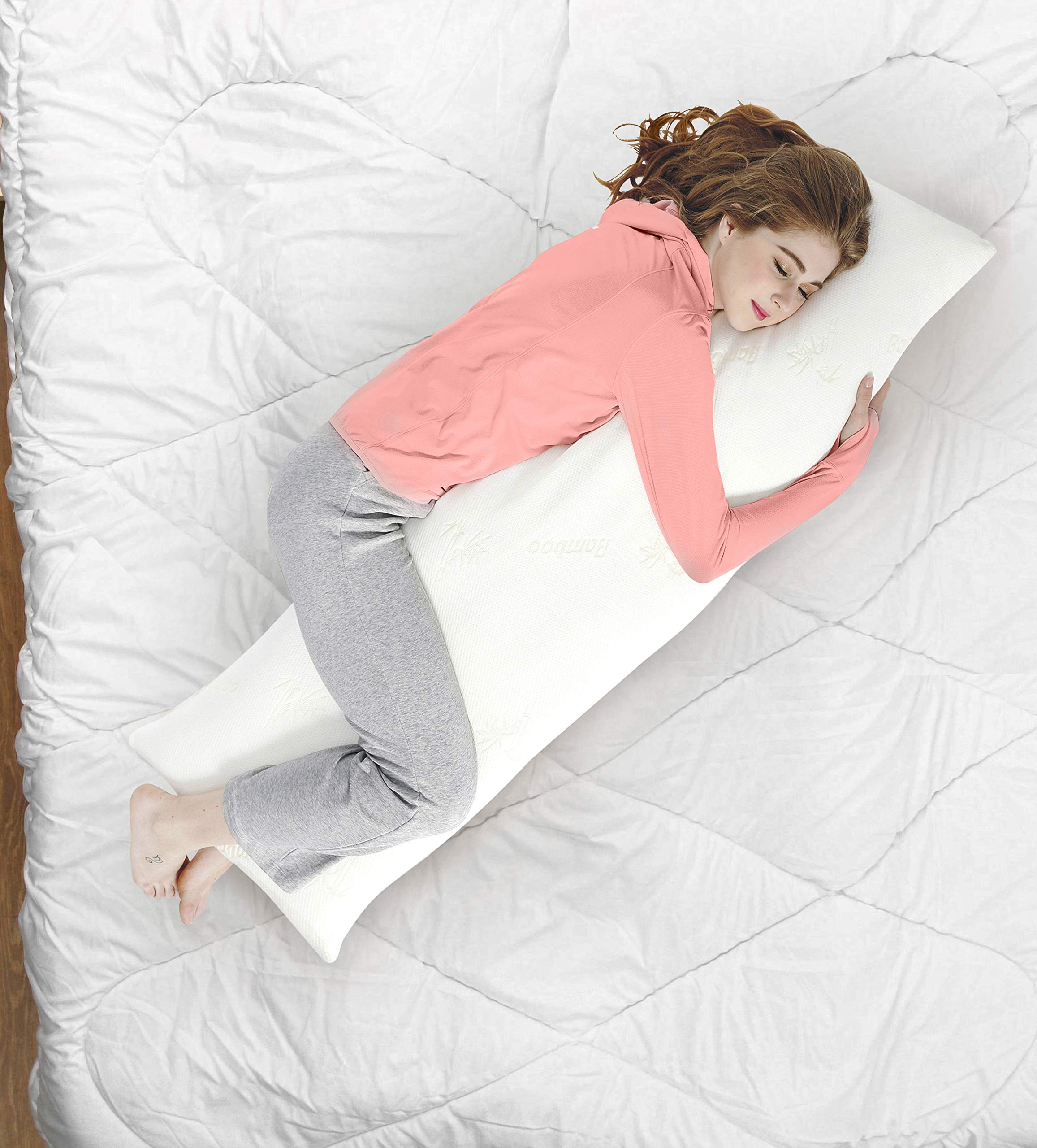 AmazingDreams Full Body Pillow - Side Sleeper Pillow and Pregnancy Pillow with Washable Bamboo Cover by Amazing Dreams (Image #5)