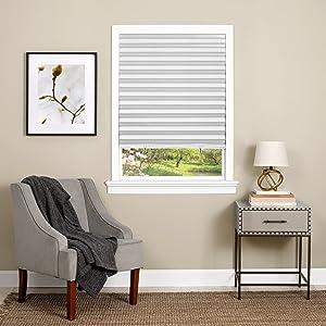 """Achim Home Furnishings Cordless 1 2 3 shade Vinyl Room Darkening Pleated Window Shade, 36"""" x 75"""", White"""