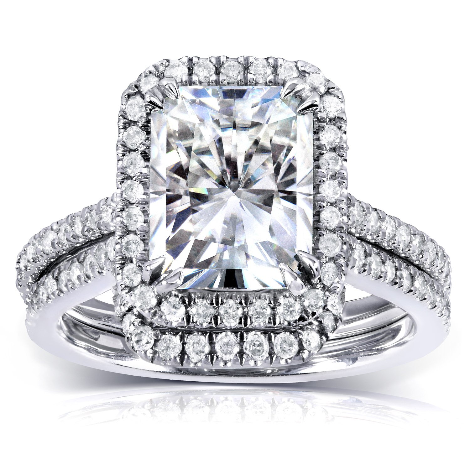 Near-Colorless (F-G) Moissanite Bridal Set with Diamond 3 1/6 CTW 14k White Gold, Size 5.5