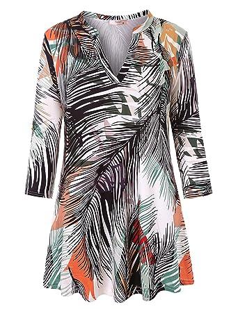 64bbdae93a6b Tanst Womens Notch V Neck 3 4 Sleeve Fashion Flowy Tunic for ...
