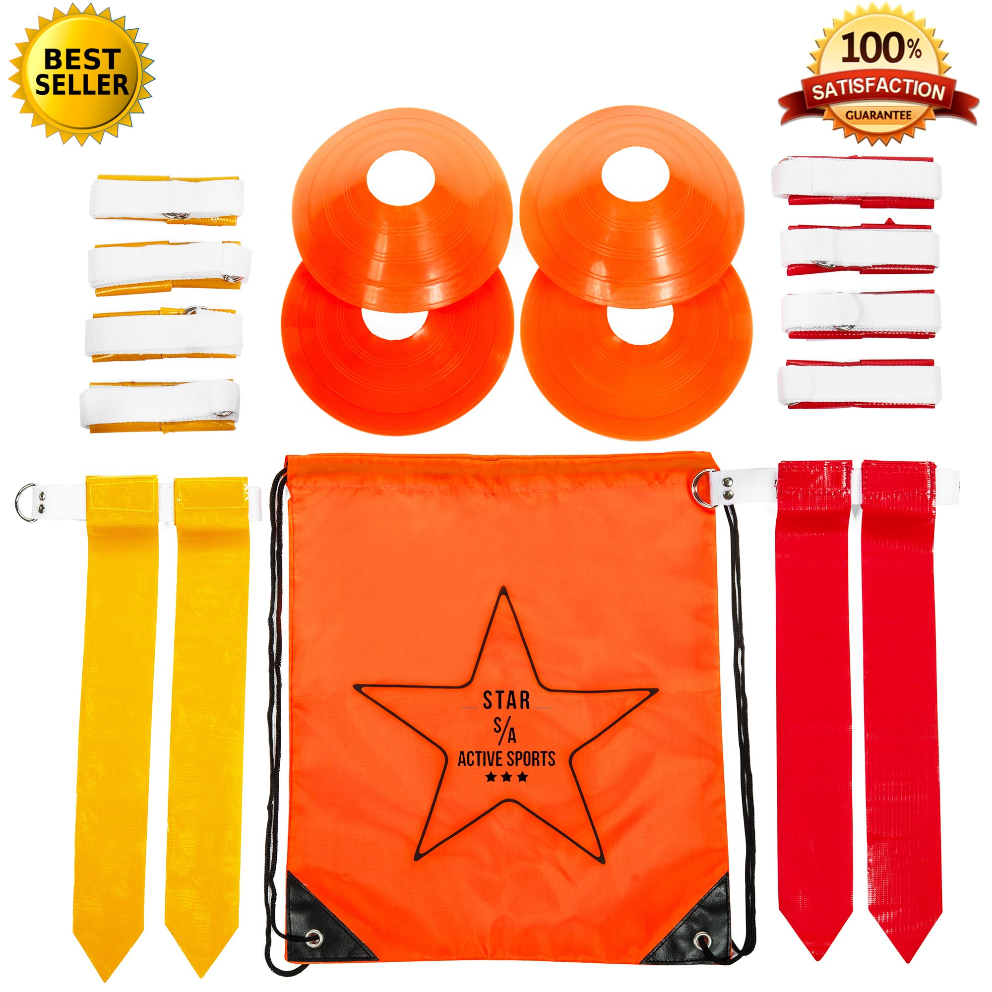 Star Active Sports Flag Football Deluxe Gear Set: Belts, Flags, Cones, Carry Bag & Bonus Flag Football Playbook (eBook)