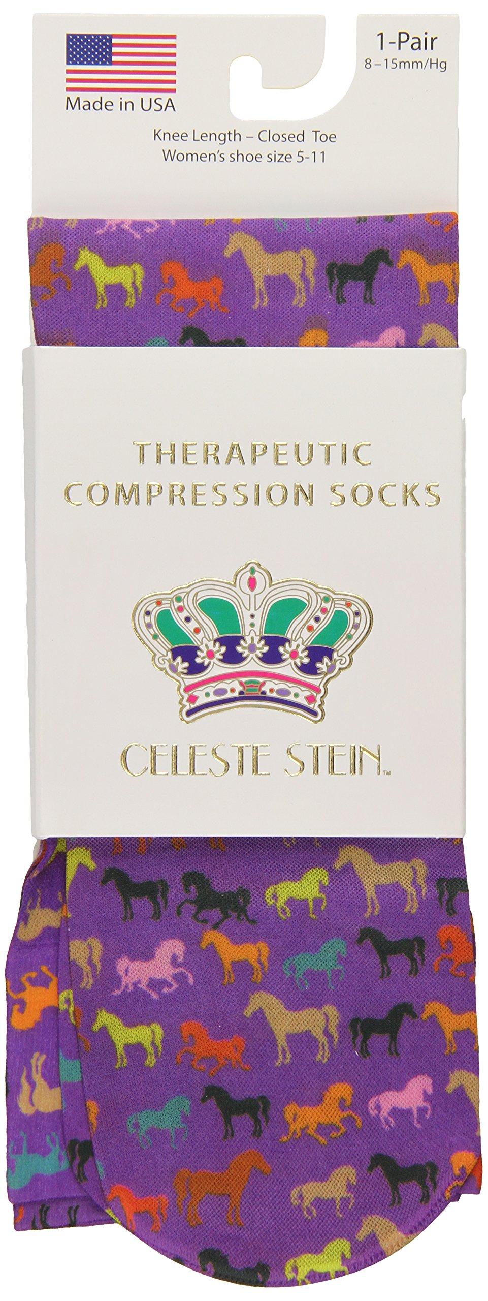 Celeste Stein Therapeutic Compression Socks, Multi Horses, 8-15 mmhg.6 Ounce