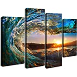 Cao Gen Decor Art S70448 4 Panels Wall Art Waves Painting On Canvas  Stretched And